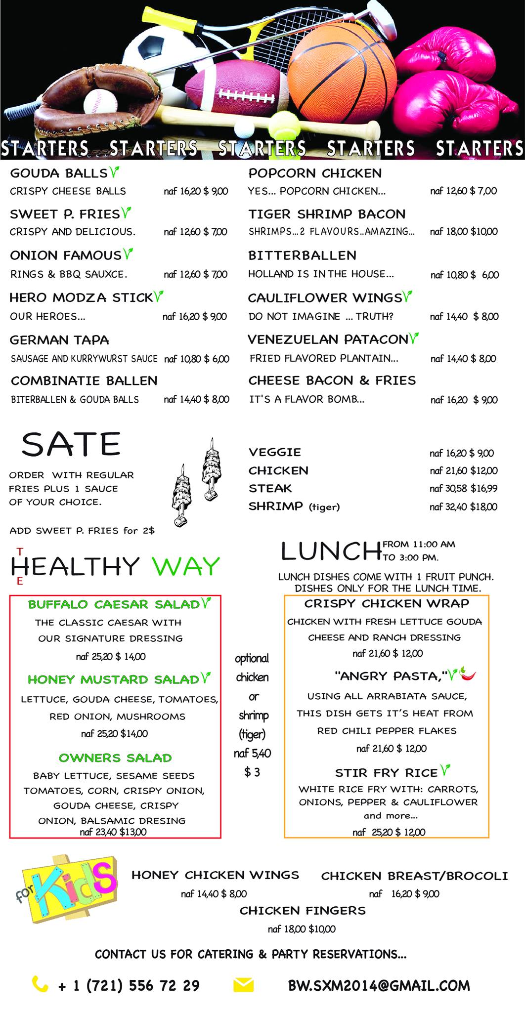 starters and lunch menu